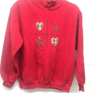 VINTAGE | Red Quilted Plaid Cat Sweater Sweatshirt